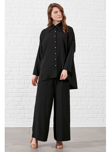 Vivencia Püskül Detaylı Pantolonlu Takım  Siyah